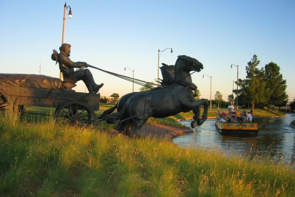 Bricktown Water Taxi with Statue